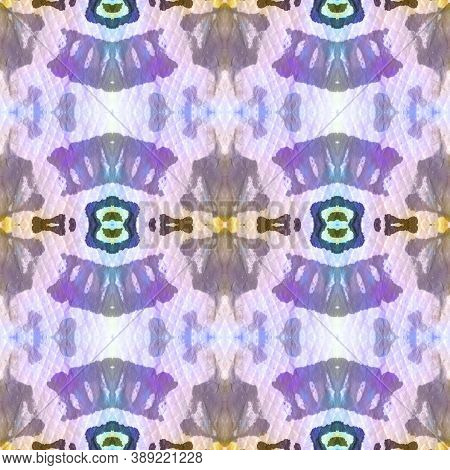 Geometric Rug Pattern. Repeat Tie Dye Illustration. Ikat Mexican Print. Abstract Kaleidoscope Motif.