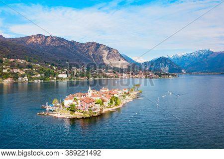 Isola Dei Pescatori And Stresa Town Aerial Panoramic View. Isola Dei Pescatori Or Fishermens Island