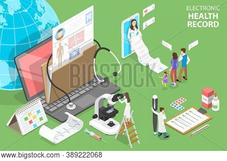 3d Isometric Flat Vector Conceptual Illustration Of Ehr - Electronic Health Record.