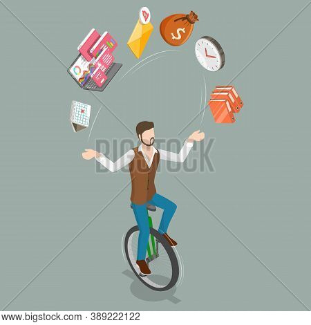 3d Isometric Flat Vector Conceptual Illustration Of Successful Multitasking Businessman.