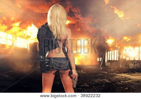special tactics sexy woman holding up her weapon with explosion behind her poster