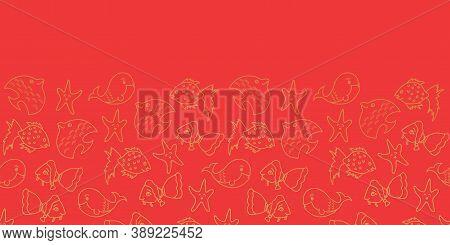 Vector Orange Horizontal Border Aquatic Seamless Pattern Background