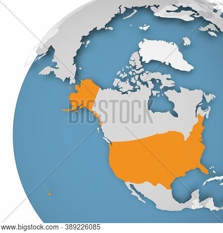 Usa Orange Highlighted On Earth Globe. 3d World Map With Grey Political Map Of Countries Dropping Sh