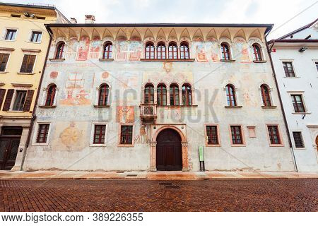 Beauty Building In Trento. Trento Is A City On The Adige River In Trentino Alto Adige Sudtirol In It