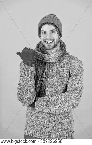No Flu. Winter Weather Forecast. Guy Wear Warm Clothes. Male Knitwear Fashion. Men Knitted Cloth And
