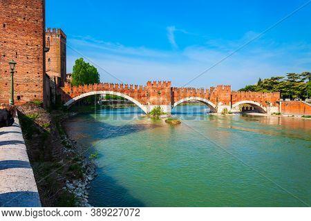 Castelvecchio Or Old Castle And Scaligero Bridge In Verona, Veneto Region In Italy
