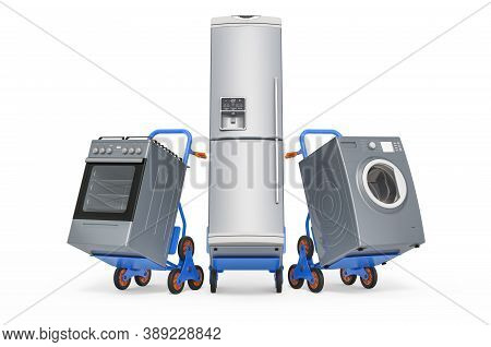 Delivery Of Household Kitchen Appliances Concept. Hand Trucks With Fridge, Washing Machine And Gas S