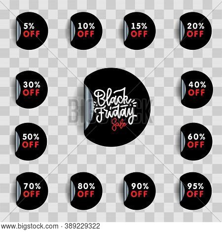 Black Friday Sale And Discount Pointer Or Sticker Set. 5.10, 15, 20, 30, 40, 50, 60, 70, 80, 90, 95