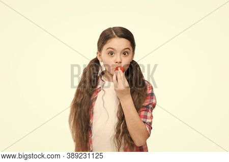Lips Care. Beautiful Girl Putting On Lip Balm Makeup. Beauty Look Of Adorable Small Girl. Little Chi
