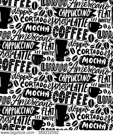 Coffee Typography Pattern. Seamless Black And White Pattern Background. Cafe Wallpaper Texture. Hand