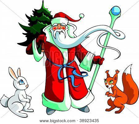 Santa Claus with animals