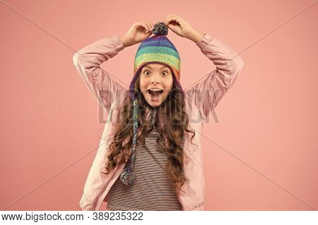 Playful Mood. Trendy Stylish Accessory. Adorable Small Child Wear Knitted Accessory. Cute Little Gir