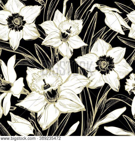 Monochrome Botanical Seamless Pattern With White Hand Drawn Silhouettes And Contours Of Leafs And Fl