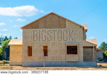 New Home Under Construction Plywood Wall Sky Development