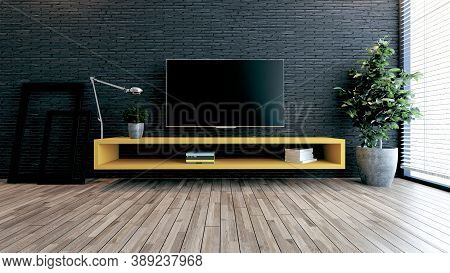 Minimalist Design Tv Space For Modern Office Or Homes. Thought Design Idea With Black Brick Wall, Ph