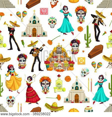 Day Of Dead Sugar Skulls, Marigolds And Sombreros Seamless Pattern. Dia De Los Muertos Vector Backgr