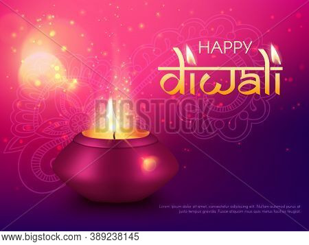 Diwali Or Deepavali Indian Happy Holiday, Vector India, Hindu Diya Greeting Card Background. Diwali
