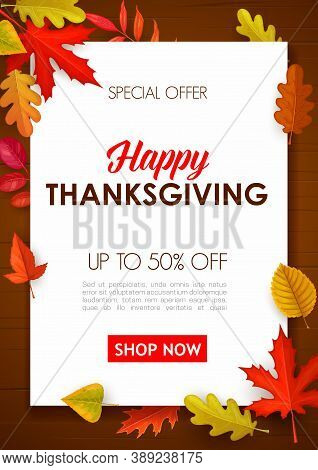 Happy Thanksgiving Vector Sale Poster, Special Offer Shopping Promo With Autumn Leaves On Wooden Bac