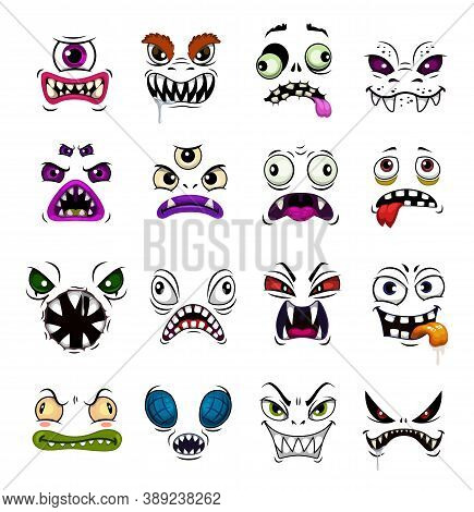 Monster Face Funny Emoticons Cartoon Vector. Horror Emojis Of Halloween Zombie, Demon Or Ghost, Devi