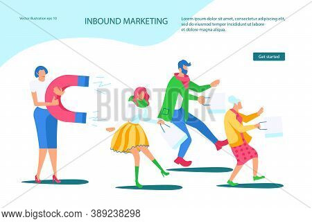 Landing Webpage Template Of Inbound Marketing. Sales Woman Attracts Different Buyers With A Huge Mag