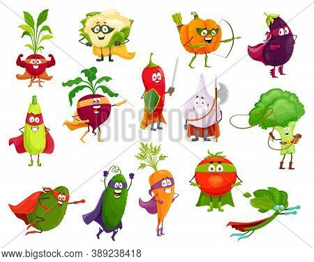 Vegetables Super Heroes, Vector Broccoli, Squash And Avocado, Cauliflower And Beetroot. Eggplant, Ch
