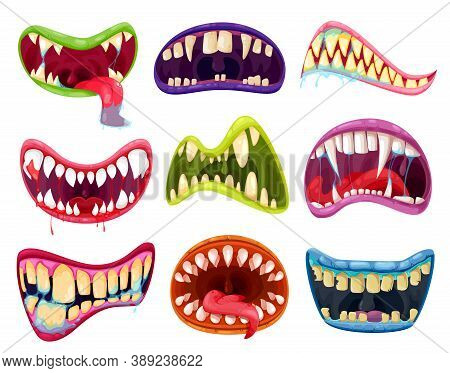 Mouth And Teeth Of Halloween Monsters Vector Set. Cartoon Scary Smile Expressions With Alien Animal