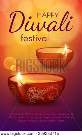 Diya Lamps Of Diwali Or Deepavali Light Festival Vector Greeting Card. Burning Oil Lamps Of Indian H