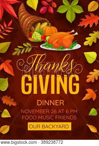 Thanks Giving Dinner Vector Flyer With Cornucopia Symbol Of Autumn Harvest. Thanksgiving Day Fall Se