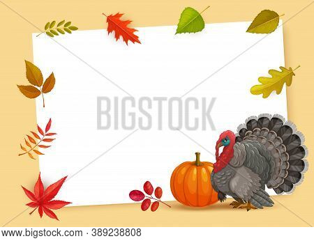 Frame With Thanks Giving Day Vector Symbols Turkey, Pumpkin And Autumn Fallen Leaves. Happy Thanksgi