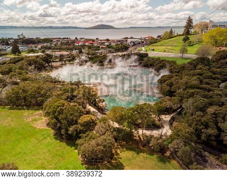 Aerial View Of Big Hot Spring Located In Kuirau Park In The City Of Rotorua, New Zealand. Geothermal