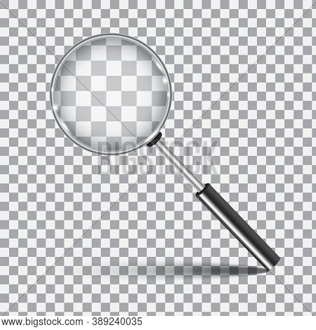 Magnifier On Checkered Background. Realistic Loupe. Zoom And Search Tool. Vector Illustration.