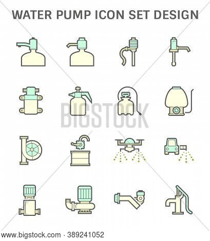 Water Pump Icon And Other Fluid Such As Chemical, Oil. Variety Type Such As Diaphragm, Centrifugal,