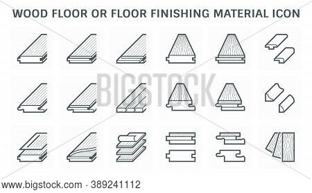 Wood Floor And Material Vector Icon Such As Pattern, Texture, Joint, Layer And Cornice. Wood Floorin