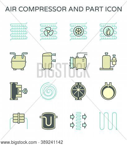 Air Compressor Or Air Condenser Unit Is A Part Of Air Conditioning Hvac Systems. Vary Type Of Compre