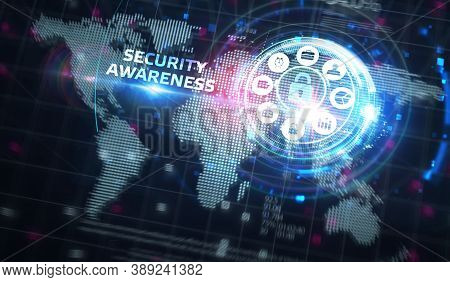 Cyber Security Data Protection Business Technology Privacy Concept. Security Awareness 3d Illustrati