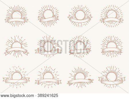Set Of Radiant Sun Burst Shapes Banners. Design Element Vintage Hipster Style Light Rays Frame For R