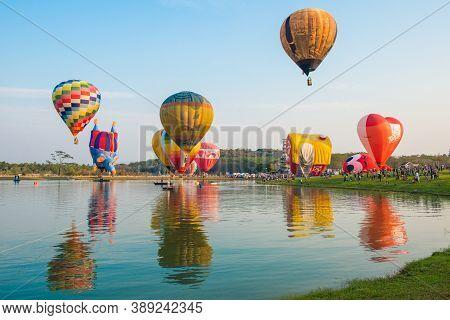 Chiang Rai, Thailand : February-14-2019 : Group Of Hot Air Balloons Flying In Singha Park Chiang Rai