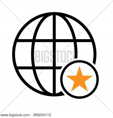 Www World Wide Web Site Symbol, Internet Map Icon, Website Address Globe, Flat Outline Sign
