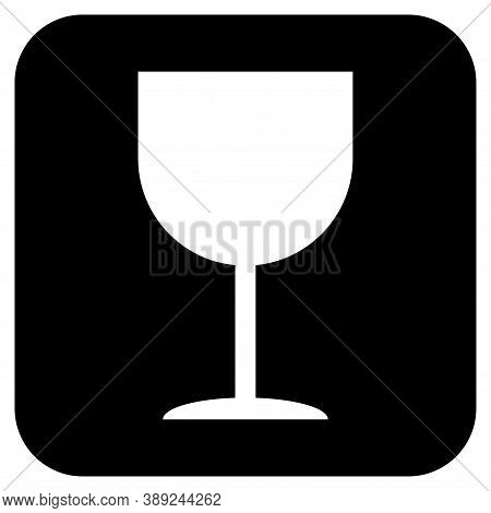 Fragile Flat Icon Isolated On Black Background. Fragile Package Symbol. Label Vector Illustration