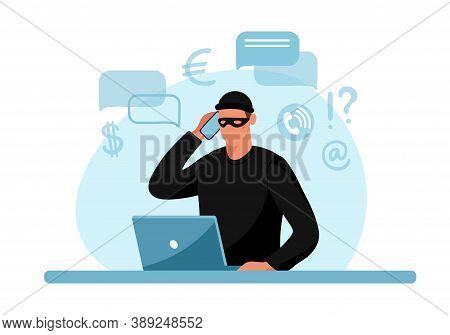 Internet Phone Crime. Conceptual Illustration Of Online Internet Fraud, Cybercrime, Data Hacking. Ca