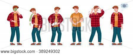 Man With Symptoms Of Food Poisoning. Set Of Male Characters With Stomach Diseases - Diarrhea And Nau