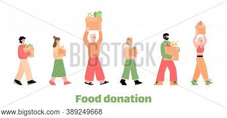 Food Donation Web Banner With Cartoon People Marching With Grocery Boxes, Flat Vector Illustration I