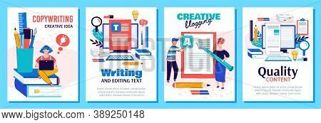 Copywriting And Blog Content Writing Poster Set - Creative Blogging And Text Editing Concepts With C
