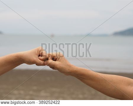 Two Woman Alternative Handshakes Fist Clenched Hand Greeting In The Situation Of An Epidemic Covid 1