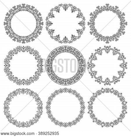 Vector Set Of Round Frames. Beautiful Elegant Abstract Floral Ornament. The File Contains Separate L