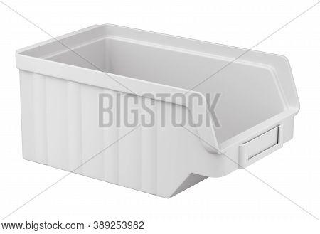 Clay Render Of Plastic Parts Bin - 3d Illustration