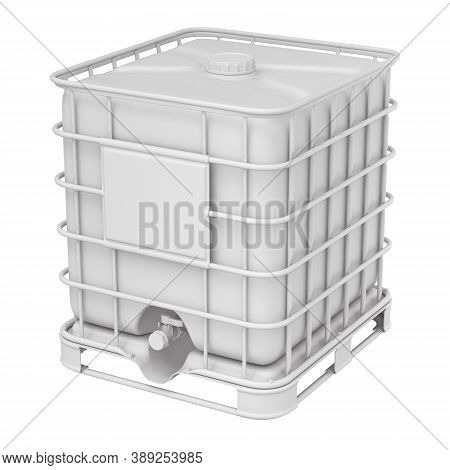 Clay Render Of White Plastic Water Storage Tank - 3d Illustration