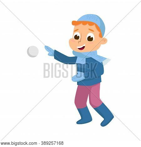 Cute Boy In Warm Hat And Knitted Mittens Playing Snowball Fight Vector Illustration