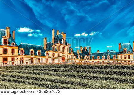 Fontainebleau, France- July 09, 2016 : Suburban Residence Of The France Kings - Beautiful Chateau Fo