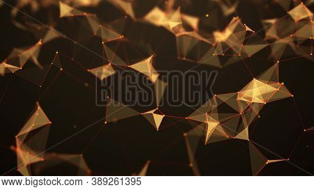 Digital Plexus Of Glowing Lines And Dots And Triangles. Abstract Background. 3d Rendering. Network O